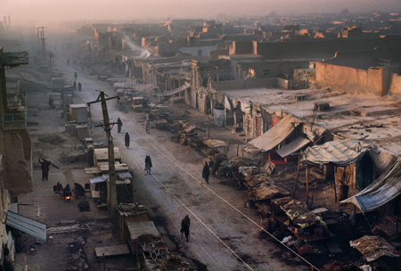 Kandahar, Afghanistan, 1992, National Geographic, October 1993, Afghanistan's Uneasy Peace, Phaidon, In the Shadow of MountainsMuffled footsteps accompany the dawn in dusty Qandahar, historic home of Afghan kings. Since the was ended, feuding mujahidin groups have centered their battles in Kabul, freeing the provinces to begin recovery.
